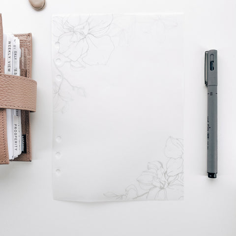 Floral Corners Minimal Planner Dashboards For TN's and Travelers Notebook Ringbound Planner V479