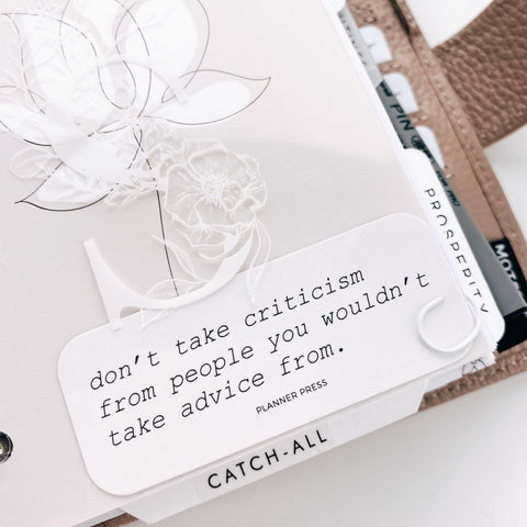 Don't Take Criticism Rectangle Planner Card