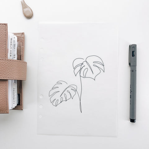 Minimal Monstera Tropical Planner Dashboards For TN's and Travelers Notebook Ringbound Planner V485