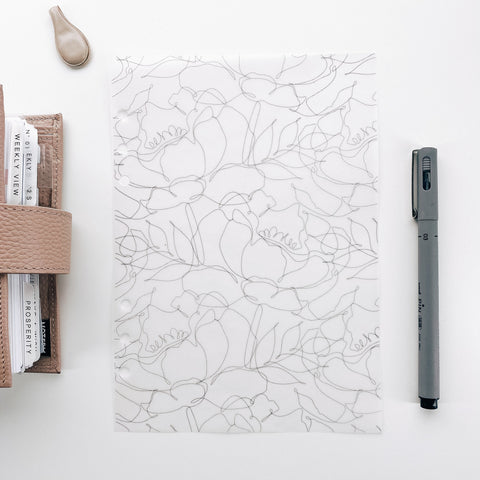 Blush Pink Floral Outline Planner Dashboards For TN's and Travelers Notebook Ringbound Planner V486