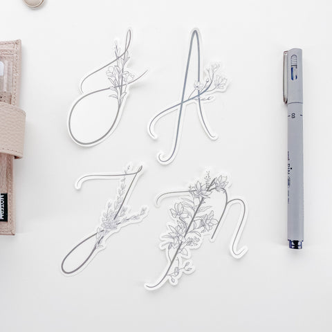 Floral Letter Die Cut Matte Transparent Sticker