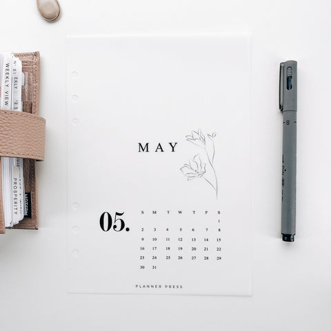 May 2021 Calendar Minimal Planner Dashboards For TN's and Travelers Notebook Ringbound Planner V480