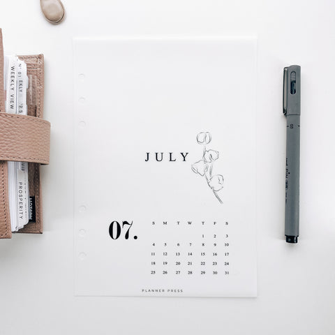 July 2021 Calendar Minimal Planner Dashboards For TN's and Travelers Notebook Ringbound Planner V482