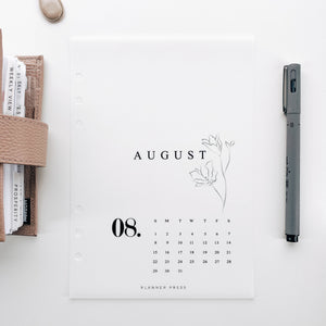 August 2021 Calendar Minimal Planner Dashboards For TN's and Travelers Notebook Ringbound Planner V483