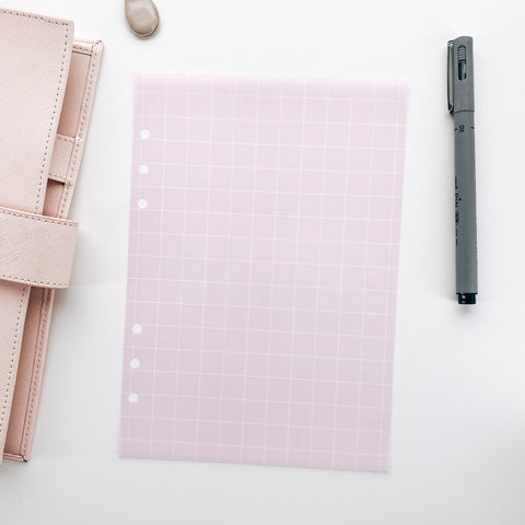 Pink and White Grid Planner Dashboards For TN's and Travelers Notebook Ringbound Planner V467