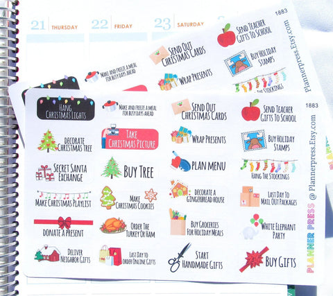 Christmas Functional To Do Planner Stickers fits Erin Condren Life Planner (ECLP) Reminder Sticker 1883