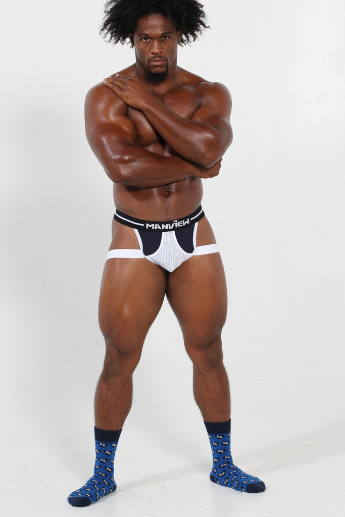 Navy Blue & White Jockstrap