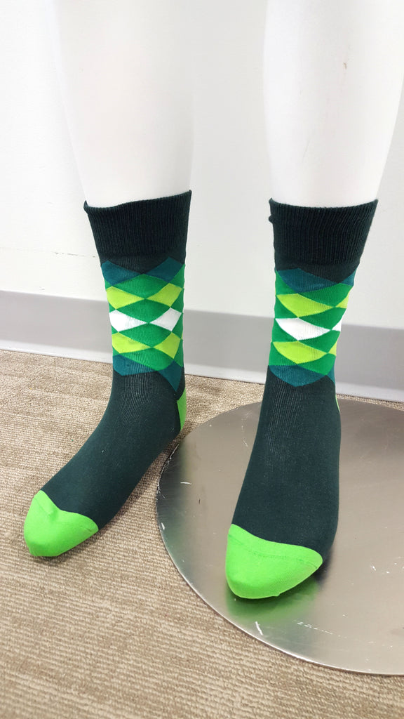 Green & White Socks