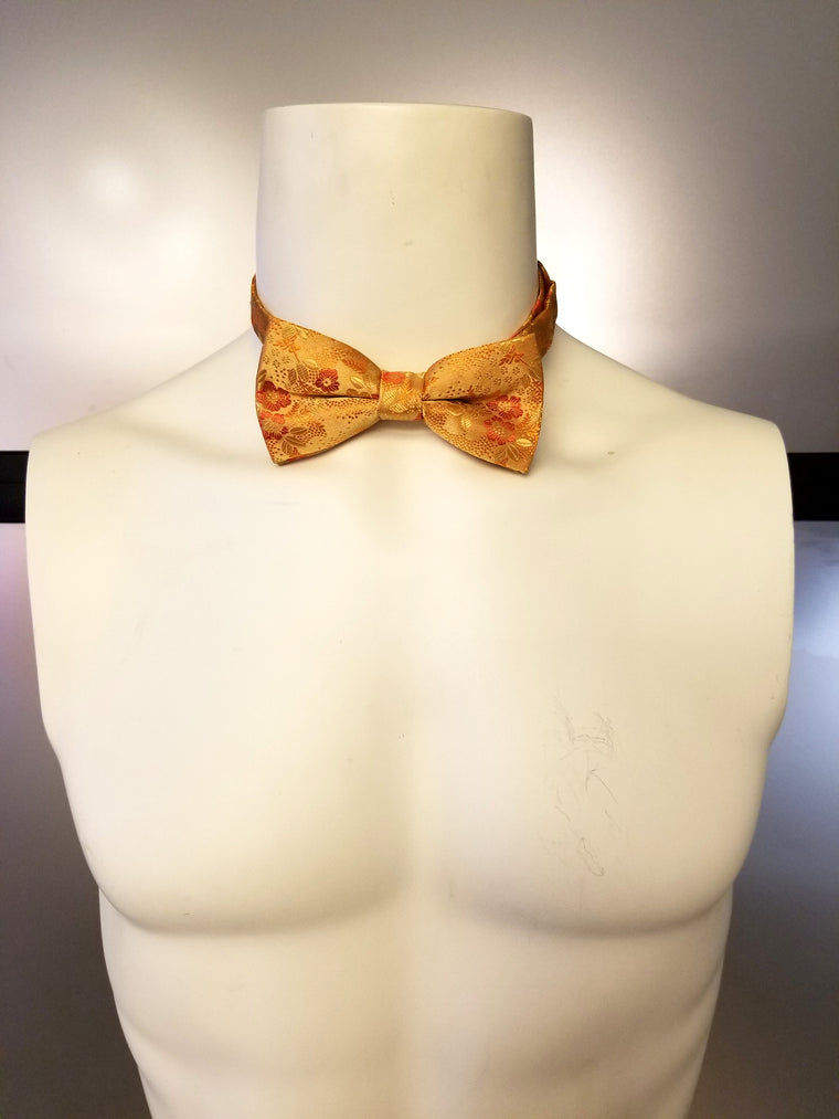 Orange Floral Bow tie