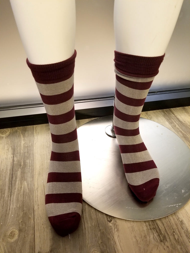 Burgundy & Grey Socks