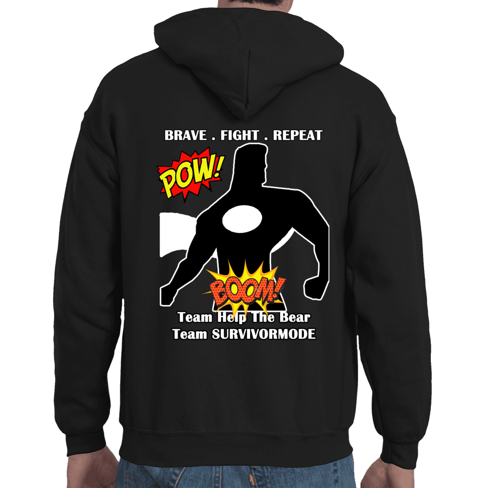 Team Help The Bear/SURVIVORMODE Men's Black Hoodie (White Letters)