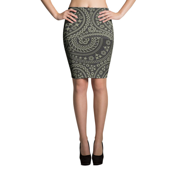 Gray Paisley Pencil Skirts by JoJo (71101033) - I WEAR JOJO