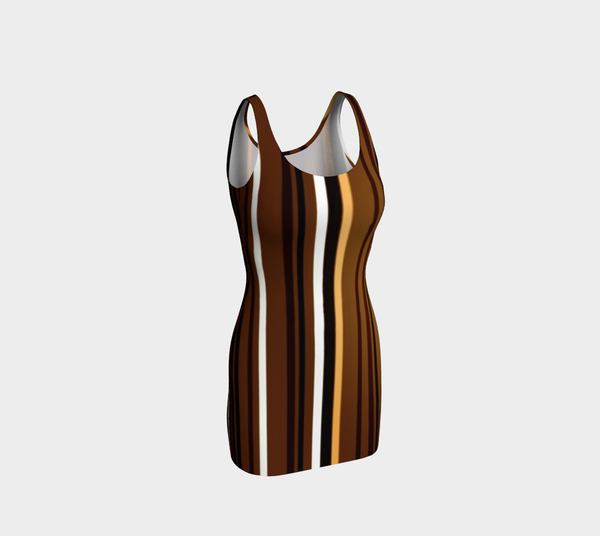 Stripe Me Brown Bodycon Dress by JoJo (1170013-B) - I WEAR JOJO