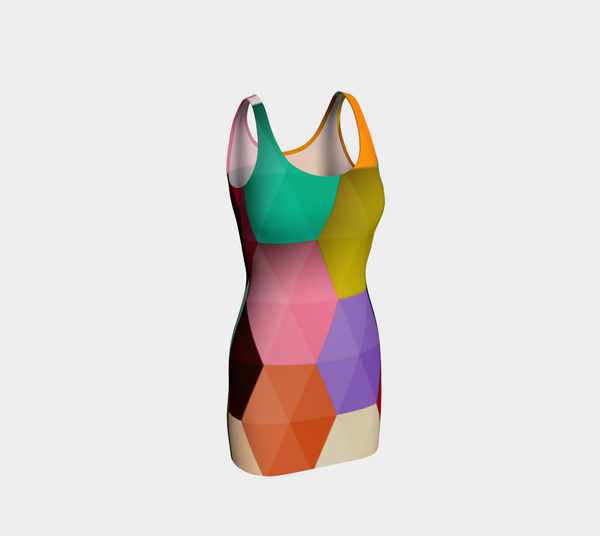 Rainbow Hexagon Bodycon Dress by JoJo (1170019-B) - I WEAR JOJO