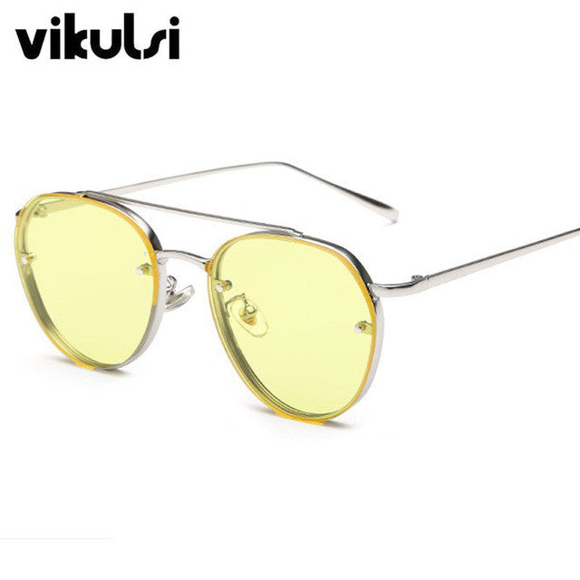 Flat Top Oversized Sunglasses Women 2017 Fashion Korean Sun Glasses For Woman Rimless Flat Lens Womens Shades Pink Lunette Femme - I WEAR JOJO
