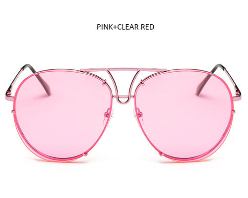 TSHING Fashion Oversized Sunglasses Women Men Brand Designer Big Size Clear Ocean Gradient Glasses For Ladies Optical Frame
