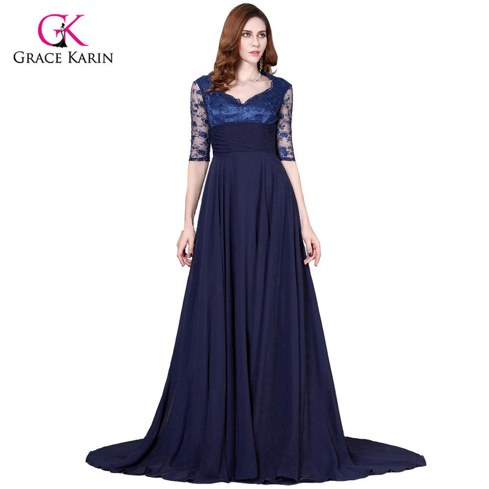 Grace Karin Navy Blue Mother Of The Bride Dresses Plus Size Long Formal  Evening Gowns Lace Wedding Party Dress With Half Sleeves