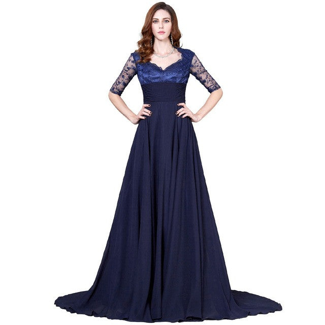 Grace Karin Navy Blue Mother Of The Bride Dresses Plus Size Long Formal Evening Gowns Lace Wedding Party Dress With Half Sleeves - I WEAR JOJO