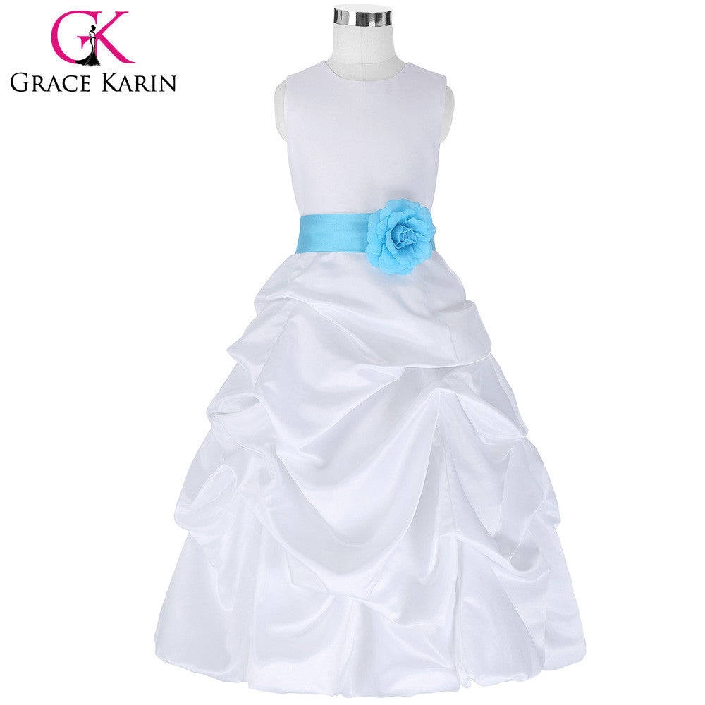 Grace Karin Flower Girl Dresses for Wedding Pageant White First Communion Dress for Girls Toddler Junior Child Formal Dress - I WEAR JOJO