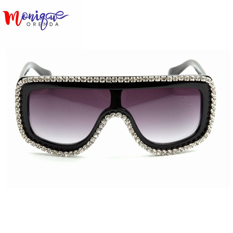 2016 New Fashion Sunglasses Woman Bling Rhinestone Oversized Sunglasses Vintage Shades Ladies Big Sun Glasses Men's Eyeware - I WEAR JOJO
