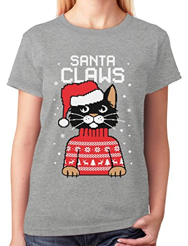 Unusual T Shirts Crew Neck Short Sleeve Christmas Womens Santa Claws Cat Ugly Christmas Sweater Shirt