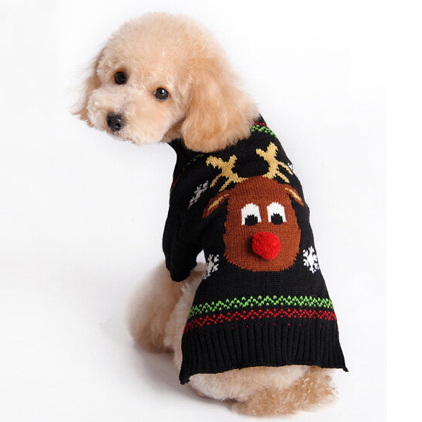 Christmas Reindeer with Red nose Snowflake Puppy Pet Cat Dog Sweater Knit Crochet UGLY CHRISTMAS SWEATER dog clothes XXS-L - I WEAR JOJO