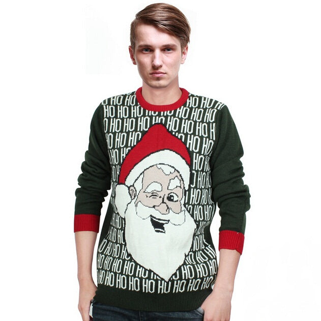 Men Christmas Sweater Male Ugly Christmas Sweaters 2017 Winter New Fashion O-Neck Pullovers - I WEAR JOJO