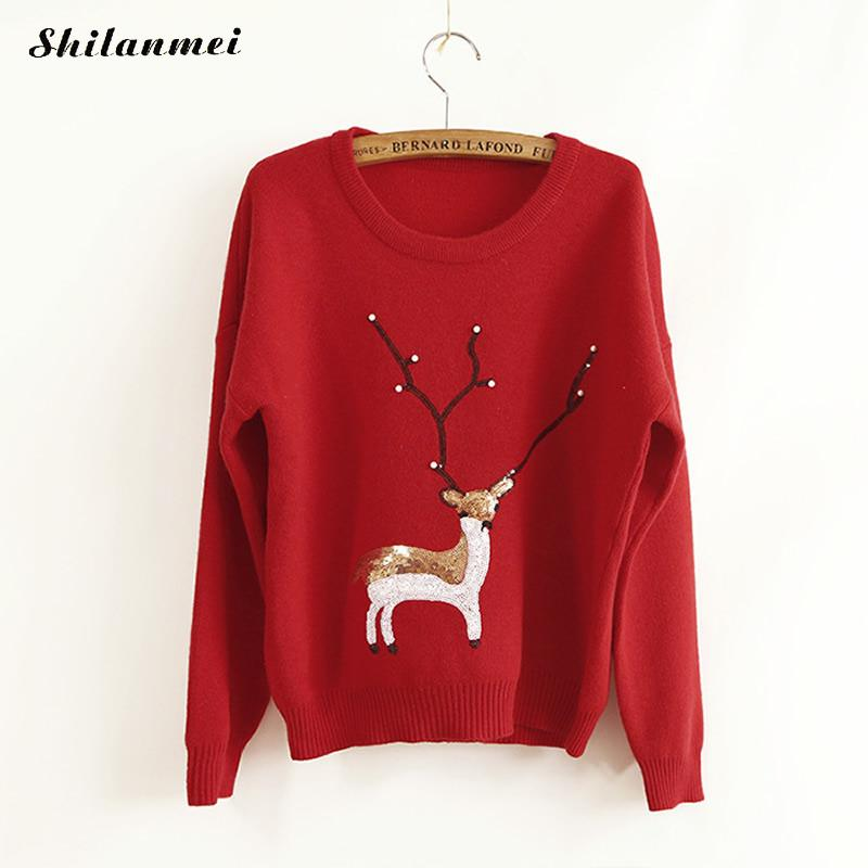 2017 Ugly Sweater Rabbit Hair Women Knitted Animal Prints Pullover Sweater Warmer Winter Reindeer Christmas Outwear Red  Top - I WEAR JOJO