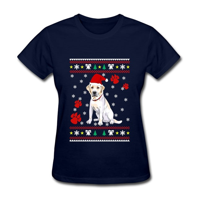 Labrador Ladies T Shirt Christmas Ugly Sweater Kawaii Adult Gift t shirt Womens - I WEAR JOJO