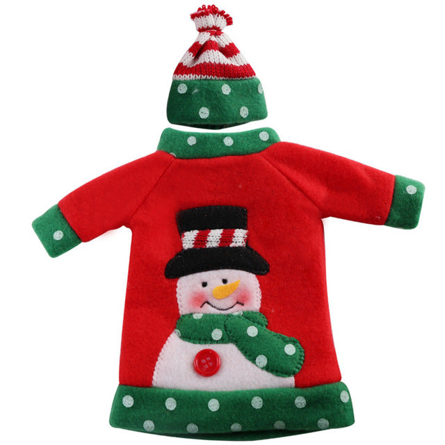 Aytai 1pc Ugly Sweater Wine Bottle Cover Bags Christmas Dinner Party Xmas Plush Cute Snowmen Table Decor New Years Supplies - I WEAR JOJO