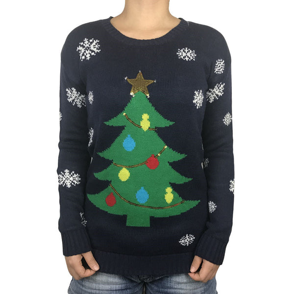 Funny Light Up Ugly Christmas Sweater for Women Christmas Tree Sequin Kawaii Ladies Xmas Pullover Jumper Oversized S-XL - I WEAR JOJO