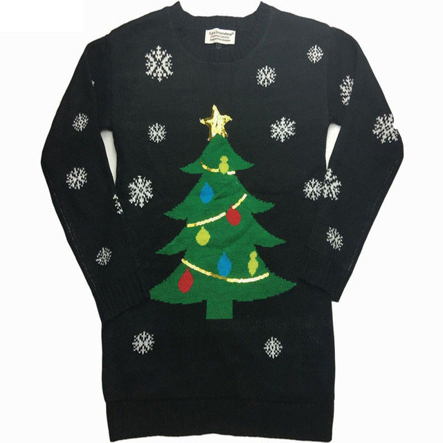 Jojo Christmas Sweater.Funny Light Up Ugly Christmas Sweater For Women Christmas Tree Sequin Kawaii Ladies Xmas Pullover Jumper Oversized S Xl
