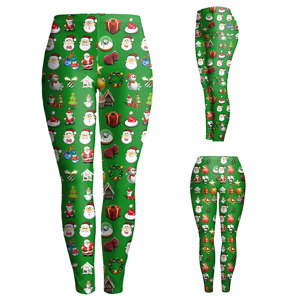 Fashion Women Lady Skinny Christmas Printed Stretchy Pants Leggings - I WEAR JOJO