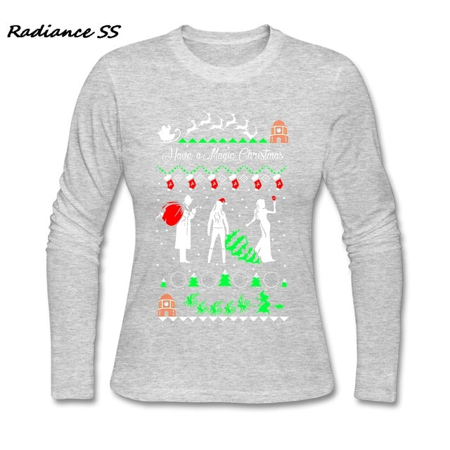 New Tee shirts Women Christmas Ugly Sweater Printing Long Sleeved Funny Cotton Womens Clothes - I WEAR JOJO