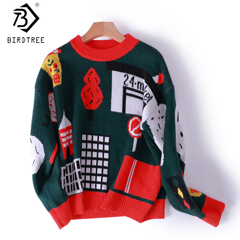 2017 Fall Knitted Pullover Ugly Christmas O-Neck Sweater Women  Full Sleeve Tops Green Fashion Women Clothing  C7O040A - I WEAR JOJO