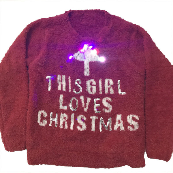 Funny Light Up Ugly Christmas Sweater for Kids Kawaii Fuzzy Baby Girls Knitted Christmas Pullover Sweaters Cute Girl Xmas Jumper - I WEAR JOJO