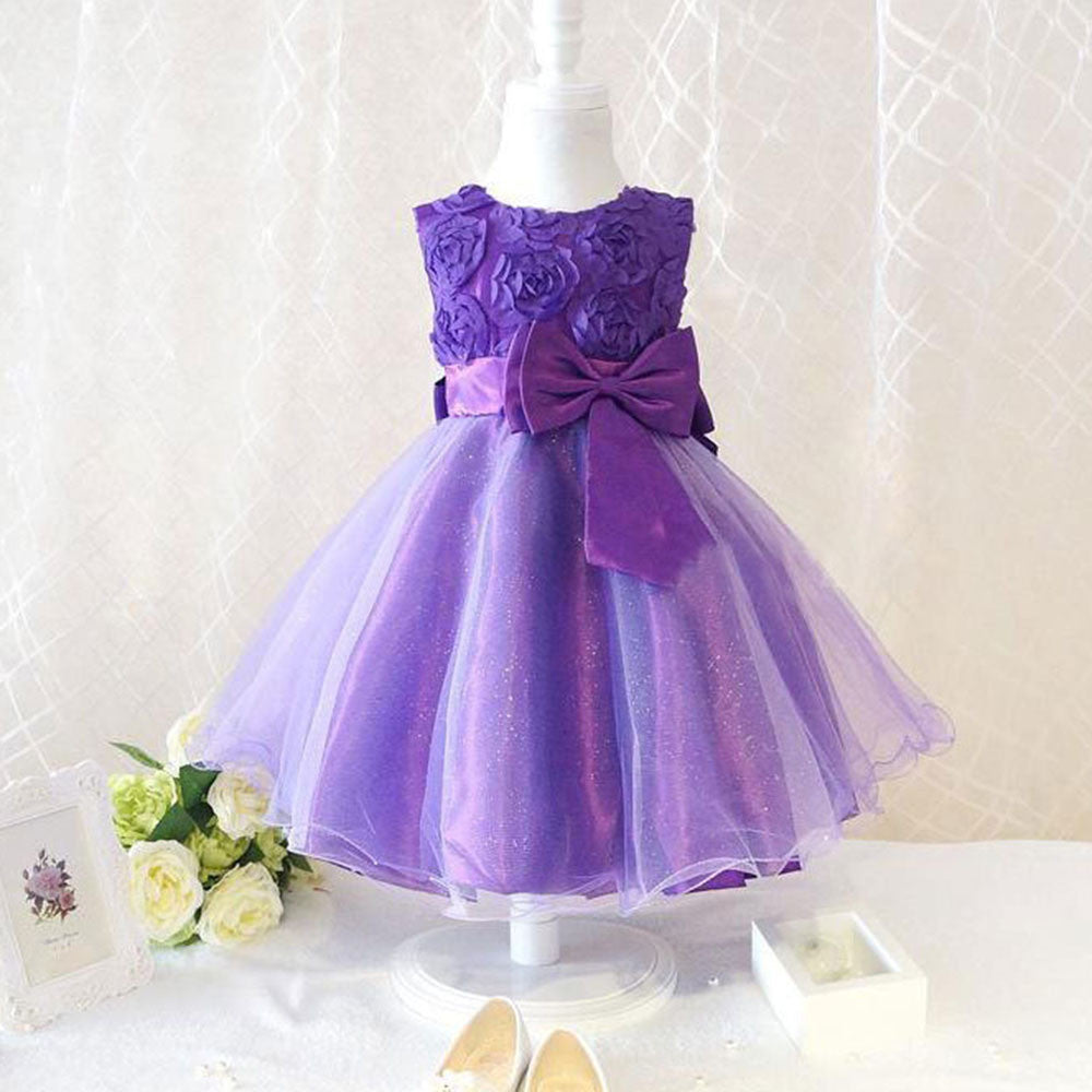 Flower Girl Princess Bow Dress Toddler Wedding Party Pageant Tulle Dresses - I WEAR JOJO