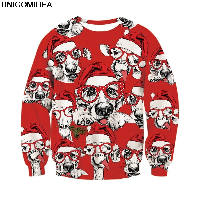 Jojo Christmas Sweater.Dogs With Glasses Ugly Christmas Pullover Sweater