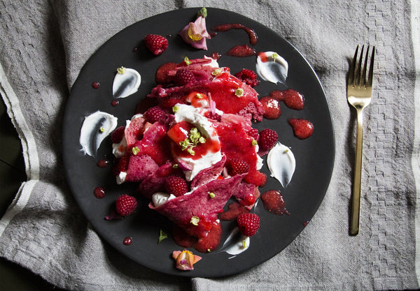 VEGAN PINK CREPES + WHIPPED COCONUT YOGURT + STRAWBERRY PUREE