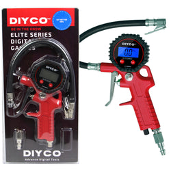 DIYCO Digital Tire Inflator with Pressure Gauge and Lock-on Air Chuck - 175 PSI