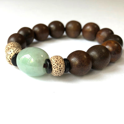 Jade (16mm) and Agarwood (14 mm) Mala Bracelet with Bodhi Seeds