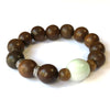Jadeite and Agarwood (14 mm, 9 mm) Mala Bracelet - Yoga Bracelet - Buddha Beads