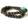 Turquoise (12mm) and Agarwood (6 mm) Double Strand Bracelet - Mala Beads