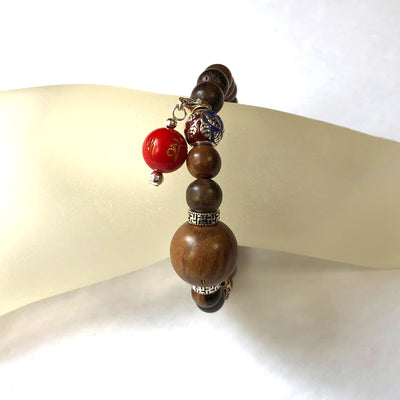 Agarwood (16mm/9mm) and Cloisonne Mala Bead Bracelet with 'Luck and Prosperity' Charm