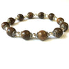 Agarwood (9 mm) and Sterling Silver Mala Bead Bracelet