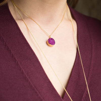 14K Gold Plated, Sterling Silver Dyed Red Druzy Necklace