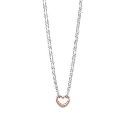 Sterling Silver Double-Stand Heart Necklace