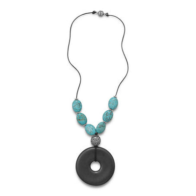 Dichroic Glass and Turquoise Bead Necklace