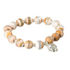 Agate Gemstone 8mm Mala Bead Bracelet with Buddha Charm