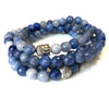 108 Bead Blue Agate 8mm Mala Bracelet - Yoga Meditation Beads - Calming Stone